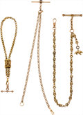 Timepieces:Watch Chains & Fobs, Three Antique Gold Watch Chains. ... (Total: 3 Items)