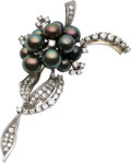 Estate Jewelry:Brooches - Pins, Black Cultured Pearl, Diamond, White Gold Brooch. ...