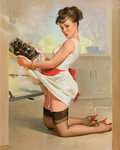Pin-up and Glamour Art, GIL ELVGREN (American, 1914-1980). Let's Eat Out, 1967. Oilon canvas. 30 x 24 in.. Signed lower right. From the Est...