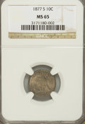 Seated Dimes, 1877-S 10C MS65 NGC....