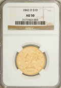 Liberty Eagles: , 1842-O $10 AU50 NGC. NGC Census: (26/85). PCGS Population (16/19).Mintage: 27,400. Numismedia Wsl. Price for NGC/PCGS coin...