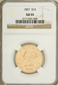 Liberty Eagles: , 1857 $10 AU55 NGC. NGC Census: (18/27). PCGS Population (4/4).Mintage: 16,606. Numismedia Wsl. Price for NGC/PCGS coin in ...