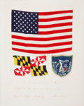 Explorers:Space Exploration, Apollo 10 Crew-Signed Presentation with Flown Large American Flag,Flown Maryland State Flag, and Flown Embroidered Mi...