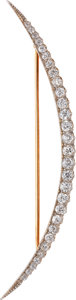 Estate Jewelry:Brooches - Pins, Antique Diamond, Platinum-Topped Gold Brooch. ...