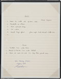 Explorers:Space Exploration, Gordon Cooper's Handwritten Mercury Program Training Notes,Originally from his Personal Collection, Certified and Signed....