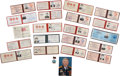 Explorers:Space Exploration, Soviet and Russian Space Dignitary Vasily Savinsky: Lot of TwentyIdentification Documents from his Personal Estate.... (Total: 22Items)