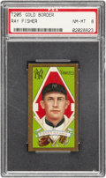Baseball Cards:Singles (Pre-1930), 1911 T205 Gold Border Ray Fisher PSA NM-MT 8 - Single Highest Graded Example!...