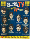 "Baseball Collectibles:Others, Circa 1953 PF Shoes ""Big League Baseball Stars on TV"" AdvertisingSign...."