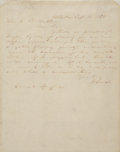 """Autographs:U.S. Presidents, Abraham Lincoln Autograph Letter Signed """"A. Lincoln"""". One page, 8"""" x 10"""", September 16, 1858, Centralia, Illinois, writt..."""