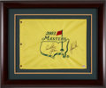 Autographs:Others, 2003 Masters Flag Signed by Woods, Nicklaus & Palmer....
