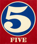 Prints, ROBERT INDIANA (American, b. 1928). Five, 1968. Lithograph on paper. 5-3/4 x 4-3/4 inches (14.6 x 12.1 cm). ...