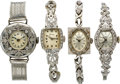Timepieces:Wristwatch, Four Lady's Diamond Wristwatches, circa 1930's to 50's. ... (Total:4 Items)