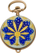 Timepieces:Pendant , New England Watch Co. Enameled Pendant Watch, circa 1905. ...