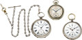 Timepieces:Pocket (pre 1900) , Three Pocket Watches, Hamilton 912, Two Swiss Key Winds and asterling chain, circa 1880 to 1930. ... (Total: 3 Items)