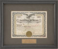 Autographs:Others, 1923 Chicago White Sox Stock Certificate Signed by Comiskey &Grabiner....