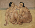 Fine Art - Painting, European:Modern  (1900 1949)  , JUSTIN PIERIS DARANIYAGALA (Sri Lankan, 1903-1967). Two Nudes onthe Beach, 1937. Oil on canvas. 30-3/4 x 38-1/4 inches ...