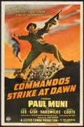 "Movie Posters:War, Commandos Strike at Dawn (Columbia, 1942). One Sheet (27"" X 41"") Style B. War.. ..."