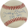 "Autographs:Baseballs, Mickey Mantle ""536 HR's"" Single Signed Baseball. Unique inscriptionsingle from the universally-revered Mickey Mantle makes..."