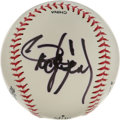 Autographs:Baseballs, Roger Clemens Single Signed Baseball. Currently at the center ofmuch media attention Roger Clemens is set to make his retu...