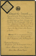"Autographs:Non-American, Edward VII Document Signed ""Edward R"" as king, two pages(front and verso), 8.25"" x 12.75"", September 17, 1901, St. Jame..."