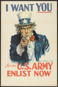 "Movie Posters:War, War Propaganda Poster (U.S. Government, 1940s). World War II Poster(25"" X 38"") ""I Want You for the U.S. Army, Enlist No..."