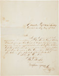 "Autographs:Celebrities, Brigham Young Document Signed ""Brigham Young/ Governor"". Onepage, 7.5"" x 10"", May 29, 1854, ""Executive Dept..."