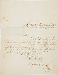 """Brigham Young Document Signed """"Brigham Young/ Governor"""". One page, 7.5"""" x 10"""", May 29, 1854"""