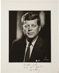 """Autographs:U.S. Presidents, John F. Kennedy Signed Photograph. The black and white photographis 11"""" x 14"""", matte finish, by Fabion Bachrach. The photo ..."""