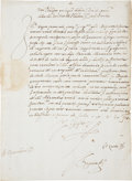 "Autographs:Non-American, King Philip II of Spain Document Signed ""Yo El Rey"". Onepage in Spanish, front and verso, 8.5"" x 11.5"", July 1, 1559, n..."