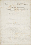 Autographs:Non-American, Simon Bolivar Manuscript Letter Signed From his Headquarters atAngostura, on official imprinted letterhead ...