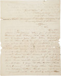 "Autographs:Military Figures, Stand Watie Autograph Letter Signed, likely a retained draft, 2pages, 8"" x 10"", ""Washington City"", April 15, 1840. ..."