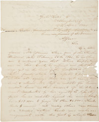 "Stand Watie Autograph Letter Signed, likely a retained draft, 2 pages, 8"" x 10"", ""Washington City<..."
