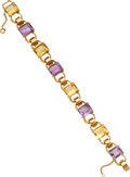 Estate Jewelry:Bracelets, Retro Amethyst, Citrine, Gold Bracelet. ...