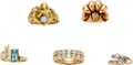 Estate Jewelry:Lots, Lot of Diamond, Tourmaline, Cultured Pearl, Gold Rings. ... (Total: 5 Items)