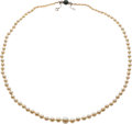 Estate Jewelry:Necklaces, Cultured Pearl, Emerald Doublet, Diamond, White Gold Necklace. ...