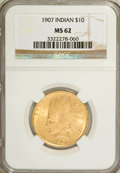 Indian Eagles: , 1907 $10 No Periods MS62 NGC. NGC Census: (1441/1838). PCGSPopulation (1471/1874). Mintage: 239,400. Numismedia Wsl. Price...