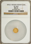 California Fractional Gold: , 1872/1 25C Indian Round 25 Cents, BG-869, Low R.4, MS65 NGC. NGCCensus: (4/1). PCGS Population (11/1). (#10730)...