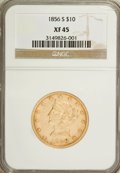 Liberty Eagles: , 1856-S $10 XF45 NGC. NGC Census: (40/166). PCGS Population (24/92).Mintage: 68,000. Numismedia Wsl. Price for NGC/PCGS coi...