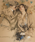 Paintings, HOWARD CHANDLER CHRISTY (American, 1872-1952). A Modern-Day Motoring Couple, Motor Magazine cover, 1912. Watercolor and ...