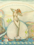 Paintings, ALBERTO VARGAS (American, 1896-1982). Venus in a Half Shell, 1937. Watercolor and collage on board. 19 x 14.5 in.. Signe...