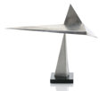 Sculpture, GEORGE RICKEY (American, 1907-2002). Five Triangles/ Documenta, 1968. Stainless steel. 16 x 20 x 4-1/4 inches (40.6 x 50... (Total: 2 Items)