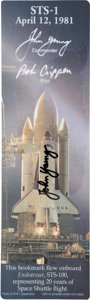 Explorers:Space Exploration, Space Shuttle Endeavor (STS-100) Flown Bookmark Directly from the Personal Collection of Astronaut John Young, Sig...