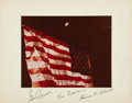Autographs:Celebrities, Apollo 17 Crew-Signed Color Moon Flag Photo Directly from thePersonal Collection of Mission Command Module Pilot Ron Eva...