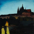 Fine Art - Painting, American:Modern  (1900 1949)  , JOHN BOWMAN (American, b. 1953). Prague's Castle, 1983. Oilon canvas. 30 x 30 inches (76.2 x 76.2 cm). Signed verso:...