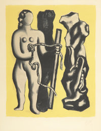 FERNAND LÉGER (French, 1881-1955) Femme sur fond jaune, 1952 Lithograph in colors on paper 16-3/8