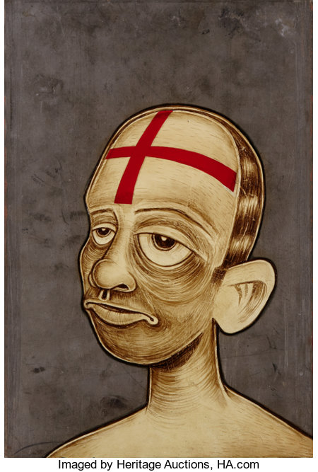 BARRY MCGEE (American, b. 1966)Untitled (Head), 1996Mixed media on metal13 x 9 inches (33.0 x 22.9 cm)...