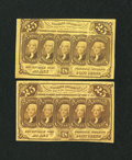 Fractional Currency:First Issue, Fr. 1281 25c First Issue Two Examples.. ... (Total: 2 notes)