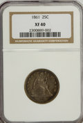 Seated Quarters: , 1861 25C XF40 NGC. NGC Census: (2/438). PCGS Population (9/472).Mintage: 4,854,600. Numismedia Wsl. Price for NGC/PCGS coi...