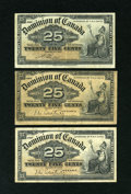 Canadian Currency: , Three Canadian Shinplasters.. ... (Total: 3 notes)
