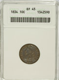 Bust Dimes: , 1834 10C Small 4 XF45 ANACS. NGC Census: (6/220). PCGS Population(9/153). Mintage: 635,000. Numismedia Wsl. Price for NGC/...